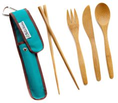 To-Go Ware Bamboo Utensil Set // Keep in the car for meals on the go & you'll be able to refuse plastic throw-away utensils <3