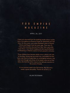 """Such a great letter and an #amazing series. As Alan Rickman said, """"Thanks for all of it, Jo."""""""