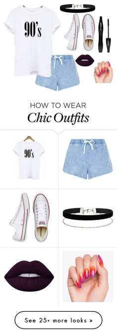 """""""90's"""" by cray-cray-cupcake on Polyvore featuring New Look, Converse, Miss Selfridge, Lime Crime and Lancôme"""
