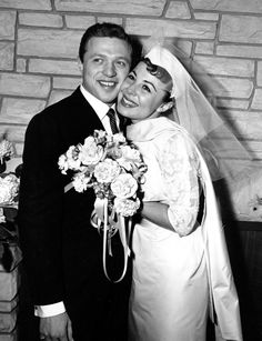 Eydie Gormé, August 16, 1928 – August 10, 2013. This Dec. 29, 1957 file photo, shows Eydie Gorme and Steve Lawrence, both 22, on their wedding day in Las Vegas. Gorme, a popular nightclub and television singer as a solo act and as a team with husband Steve Lawrence, has died. She was 84. Her publicist, Howard Bragman, says she died at a Las Vegas hospital Saturday, Aug. 10, 2013 following an undisclosed illness. (AP Photo/File)
