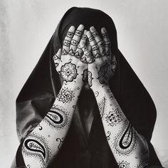 """I find that through the study of women, you get to the heart - the truth - of the culture"" Shirin Neshat, Iranian visual artist Shirin Neshat, Duane Michals, Perfect Music, Political Art, Feminist Art, Foto Art, Art Plastique, Mehndi, Female Art"