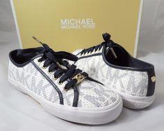 Women's MICHAEL Michael Kors BOERUM SNEAKER Lace Up White /Navy Size 6.5 #Michaelkors #FashionSneakers