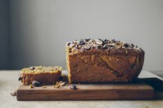 Homemade Nutella Swirled Pumpkin Bread w/ Hazelnuts // by Faring Well #vegan #recipes