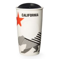 A double-walled, ceramic travel mug with a bear design inspired by the California state flag, part of the Starbucks Dot Local Collection.