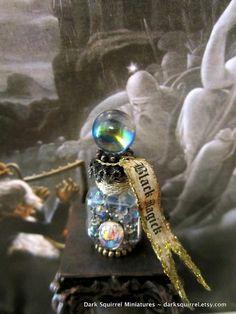 Black Magick Ball  potion bottle ooak dollhouse by DarkSquirrel, $12.00