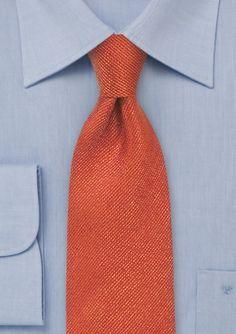 Melange Textured Silk Tie In Burnt Orange