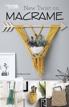 New Twist on Macramé from Leisure Arts presents an assortment of easy projects to knot for home décor and fashion. Great to make for yourself or as unique gifts, these 10 macramé projects are a breeze to create. A variety of fibers (jute, paracord, braide Macrame Projects, Craft Projects, Easy Projects, Upcycled Crafts, Paracord, Diy Crafts Hacks, Diy Home Crafts, Fall Crafts, Macrame Plant Hangers