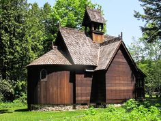 6. A small wooden chapel built in a late 12-century Norwegian stave church (stavkirke) style at Björklunden, an extension of Lawrence University in Chicago.  Near Baileys Cove in Door County,  it was  handcrafted by Winifred and Donald Boynton in the 1940's on the grounds of their summer residence, and is modeled after a stave church in Norway.  The Boynton's willed their estate to Lawrence University.
