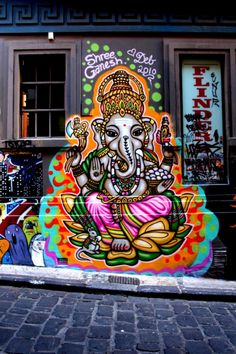Street art in Melbourne is like work, professional. The lovely people have another attitude about street art than in Berlin haha. Ganesh street art in Melbourne. Graffiti Art, Amazing Street Art, Amazing Art, Incredible India, Image Elephant, Urbane Kunst, Art Du Monde, Lord Ganesha, Ganesha Art