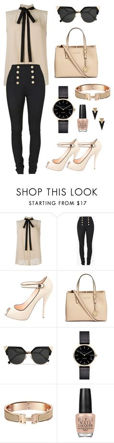 """Bureau 2"" by chaimae-aghmir-ep-chtitihi on Polyvore featuring mode, Balmain, Christian Louboutin, Michael Kors, Fendi, Myku, OPI et Yves Saint Laurent"