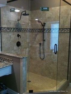 Love: Frameless, glass tiles, dual shower heads, size, corner shower.