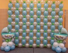 Link-o-loon wall in Pearl Caribbean Blue, Pearl White, Pearl Lime Green with Carriages Balloon Wall Decorations, Birthday Room Decorations, Balloon Arrangements, Balloon Backdrop, Balloon Columns, Baby Shower Decorations, Balloons Galore, Pink Balloons, Baby Shower Balloons