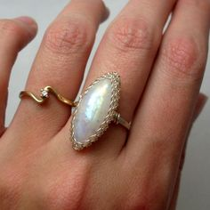 Rainbow Moonstone Marquise Sterling Silver Wire by AnnaWireJewelry, $54.00