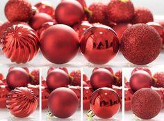 Christmas Tree Red Ball Ornaments 24ct Shatterproof Decorations Balls Holiday #Kistore