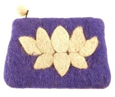 Lotus Flower Felt Coin Purse - Purple - Global Groove (P) This lined felt coin purse with lotus flower accent is 5 by 4 inches in size. Zipper closure with pom pom pull. Imagination Toys, Purple Purse, Braided Rugs, Create And Craft, Handmade Felt, Handmade Jewelry, Lotus Flower, Purses And Handbags, Coin Purses