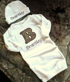 Real Tree Camo - Personalized Layette Gown and Hat