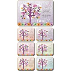 Lisa Pollock Tree of Love placemats and coasters, set of 4 Coasters, Lisa, Fun, Design, Drink Coasters, Design Comics, Coaster Set, Lol, Funny