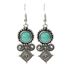 Qise Retro Style Inlaid Round Turquoise Drop Earrings