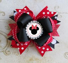 Minnie Mouse Hair bow Disney headband bottle cap by JaybeePepper, $7.25