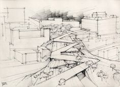 handmade drawings for Tagus Platform, Lisbon, Portugal Landscape Drawings, Architecture Drawings, Concept Architecture, School Architecture, Amazing Architecture, Landscape Architecture, Landscape Paintings, Architecture Design, Landscapes