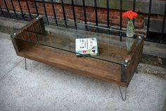 Salvaged Wood and Tempered Glass Coffee Table  by RecycledBrooklyn,