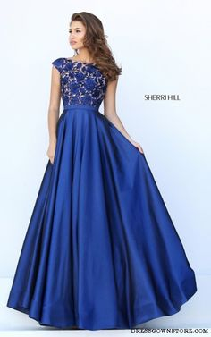 Navy Sherri Hill 50346 A Line Satin Prom Dress