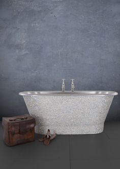 Light Mother of Pearl Stainless Steel Torino Cast Iron Bath, Copper Bath, Roll Top Bath, Bathroom Accessories, Mosaics, Bathtub, Stainless Steel, Traditional, Pearls