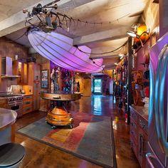 purple steampunk airship kitchen light!