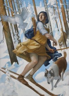 """""""Skaði á skíðum,"""" by Icelandic painter Thrandur.  I like this painting except for a glaring omission: she needs some leggings!  A Norse goddess would NOT go bowhunting with bare legs..."""