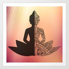 Luminous Buddha Art Print by notjustdoodle Easy Mandala Drawing, Mandala Art Lesson, Mandala Artwork, Mandala Painting, Watercolor Mandala, Mandala Doodle, Buddha Painting, Doodle Art Designs, Mandala Art Designs
