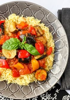 Spicy Ratatouille with Orzo. An outstanding vegetarian meal. A delicious, nutritious and eye appealing way to add a vegetarian option to your weekly meal plan for Meatless Monday.