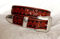 Hand tooled leather belt - your size by Lone Tree Leather Works