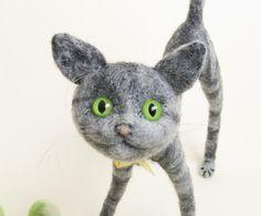 Needle Felted Animals - Cat. $68.00, via Etsy.