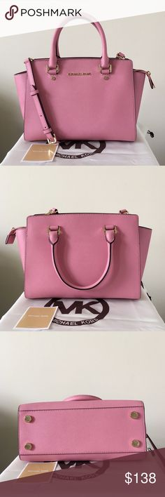 Michael Kors Selma Medium Misty Rose Classic Selma Satchel/ Crossbody . Medium size. Beautiful misty rose color with gold detailing. Just don't run into this color very often at all. 😊  Purse is lightly used. In really good condition. Only shows minor wear on the bottom feet. Authentic.   Measurement: 11*8.5*5.5 inch  Dust bag is included. Michael Kors Bags Satchels