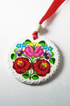 Handpainted Kalocsa Wooden Round Necklace