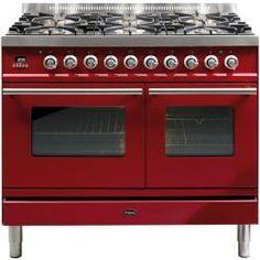 Rockin' Black & Red AGA Range with Classic Styling (DesignerKitchensLA.com, Kitchen-Design-Ideas.org)