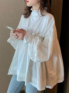 Silk organza blouse with hand painted details Organza Pakistani Fashion Casual, Pakistani Dresses Casual, Pakistani Dress Design, Muslim Fashion, Modest Fashion, Korean Fashion, Fashion Dresses, Hijab Fashion, Ladies Fashion