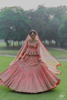 Looking for Offbeat peach bridal lehenga with peplum blouse? Browse of latest bridal photos, lehenga & jewelry designs, decor ideas, etc. on WedMeGood Gallery. Pink Bridal Lehenga, Wedding Lehnga, Muslim Wedding Dresses, Designer Bridal Lehenga, Indian Bridal Lehenga, Indian Bridal Outfits, Indian Bridal Fashion, Indian Bridal Wear, Pakistani Bridal Dresses