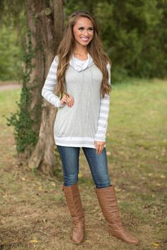 This soft striped blouse is sure to keep you cozy all season long!