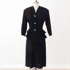 40s Peplum Suit Jean Lang 1940s Black Crepe by daisyandstella, $175.00