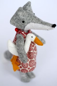 Felted fox and duck - by Manomine