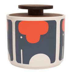 Retro elephant storage jars by Orla Kiely. Free UK delivery on all orders over Shop the entire Orla Kiely homeware range at Unique & Unity. Elephant Size, Small Elephant, Elephant Nursery, Elephant Print, Small Storage, Jar Storage, Kitchen Storage, Kitchen Styling, Storage Containers