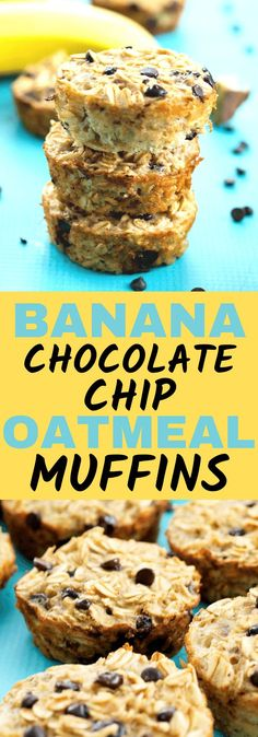 These Banana Chocolate Chip Baked Oatmeal Muffins are super simple and easy and a one-bowl recipe!! Great for a make ahead breakfast or snack on the go! my whole family loves this healthy breakfast recipe idea. Gluten free and dairy free recipe.