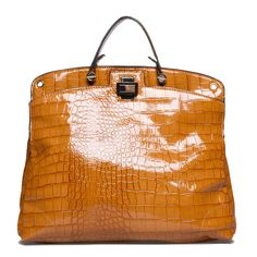 glossy, faux croc-embossed dome tote