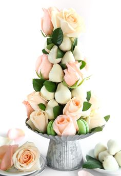 DIY Dipped Strawberry and Rose Tower - this is a stunning table centre piece for a special occasion. I love lit!