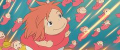 """""""Ponyo"""" Acclaimed anime master Hayao Miyazaki returns for his ninth animated feature with Ponyo, which deals with a friendship between a five-year-old boy and a goldfish princess who yearns to be human. Hayao Miyazaki, Totoro, Wallpaper Studio, Animation, Movies In Color, Studio Ghibli Films, Tv Spielfilm, Mega Anime, Avengers Film"""