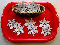 rhyming snowflakes: glue pairs of rhyming pictures into foam snowflakes, could also do big letter, little letter for alpha recognition