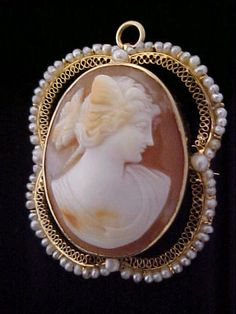 14kt yellow gold 067ct diamond cameo pendant w5502 lot 58k antique shell cameo brooch pendant psyche butterfly wing fancy seed pearl 10k aloadofball Choice Image