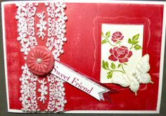 Stampin' Up! Scalloped lace, seam binding and button - Artisan Embellishment kit, You Are Loved stamp set, Classic Stampin' markers,  Elegant Butterfly punch, Papillon Potpourri stamp set, pearls, silver Glimmer Paper, real red Core'dinations card stock, sanded and embossed with Designer Frames Folder.