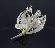 Vintage Spun silver Filigree - Lily of the Valley - Brooch